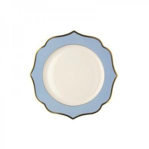 Piatto da portata piano fascia oro bordo azzurro D-26 3,78€